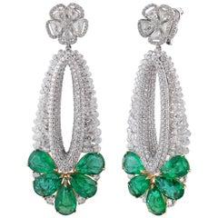 Studio Rêves Pear Emeralds and Diamonds Dangling Earrings in 18 Karat Gold
