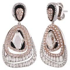 Studio Rêves Pear Shaped Diamond Dangling Earrings in 18 Karat Gold