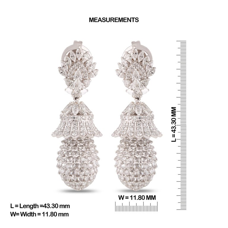 Gross Weight: 22.00 Grams Diamond Weight: 9.82 cts IGI Certification can be done on request.  Video can be uploaded on request.  Dazzle, shine with this pineapple-shaped earrings in 18K white gold, studded with round rose cut diamonds and brilliant