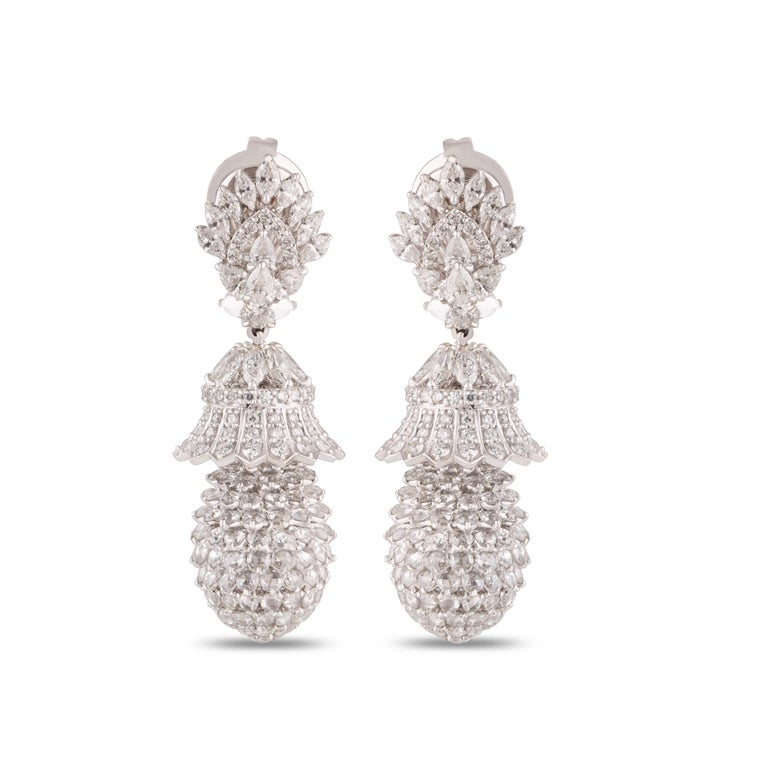 Contemporary Studio Rêves Pineapple Diamond Dangling Earrings in 18 Karat White Gold For Sale