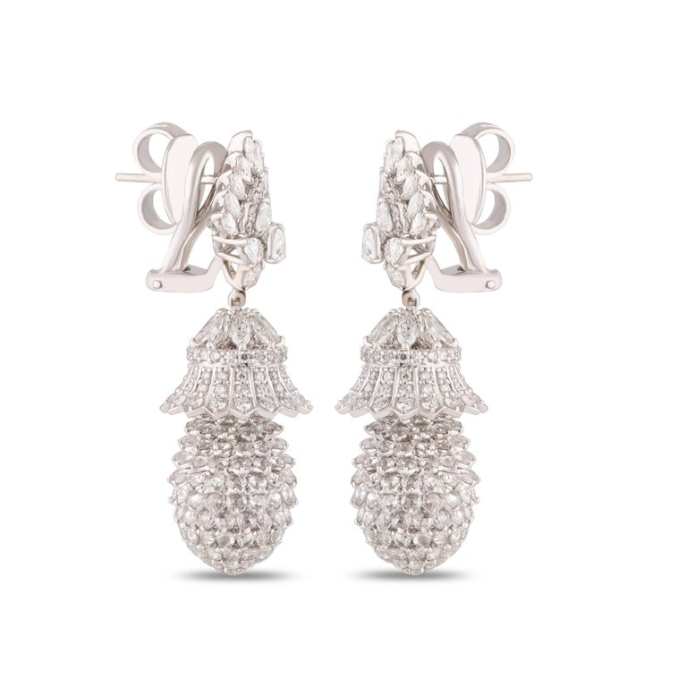 Rose Cut Studio Rêves Pineapple Diamond Dangling Earrings in 18 Karat White Gold For Sale