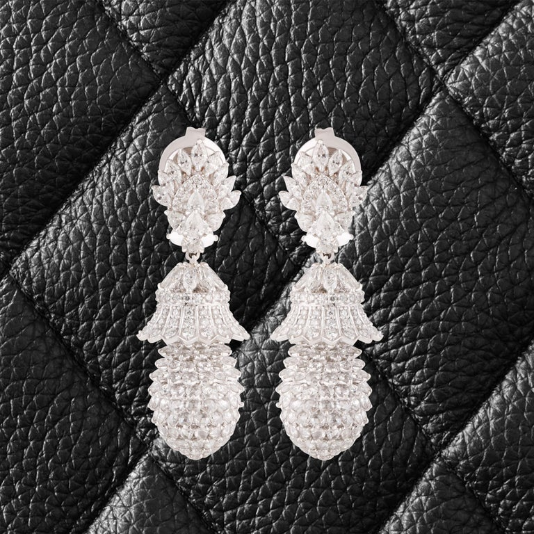 Women's Studio Rêves Pineapple Diamond Dangling Earrings in 18 Karat White Gold For Sale