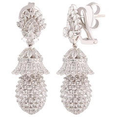 Studio Rêves Pineapple Diamond Dangling Earrings in 18 Karat White Gold