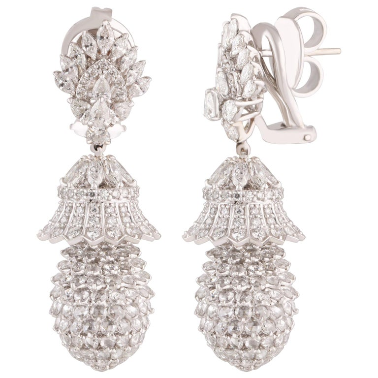 Studio Rêves Pineapple Diamond Dangling Earrings in 18 Karat White Gold For Sale