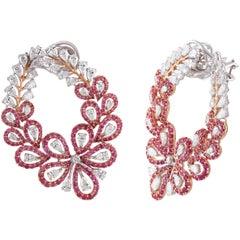 Studio Rêves Pink Sapphire and Diamond Stud Earrings in 18 Karat Gold