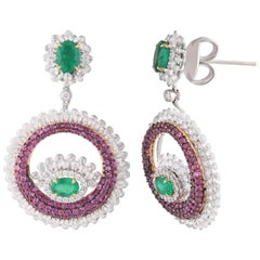 Studio Rêves Pink Sapphire and Emerald Diamond Dangling Earrings in 18K Gold