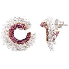 Studio Rêves Pink Sapphire and Rose Cut Diamond Stud Earrings in 18 Karat Gold