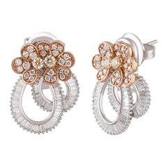 Studio Rêves Ribbon Baguette and Orange Diamond Stud Earrings in 18 Karat Gold