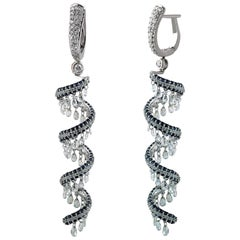 Studio Rêves Rose Cut and Blue Sapphire Spiral Dangling Earrings in 18K Gold