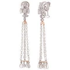 Studio Rêves Rose Cut and Brilliant Cut Diamond Chandelier Earrings in 18K Gold
