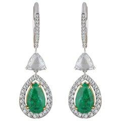 Studio Rêves Rose Cut and Emerald Dangling Earrings in 18 Karat Gold