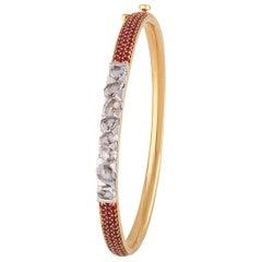 Studio Rêves Rose Cut Diamond and Ruby Studded Bracelet in 18 Karat Gold