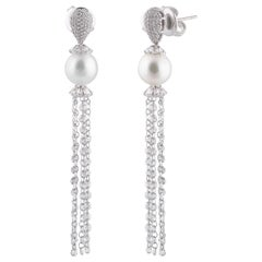 Studio Rêves Rose Cut Diamond and South Sea Pearls Dangling Earrings