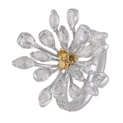 Studio Rêves Flared Daisy Yellow and White Diamonds Cocktail Ring in 18K Gold