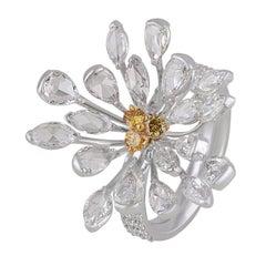 Studio Rêves Rose cut Diamond Floral Cocktail Ring in 18 Karat Gold
