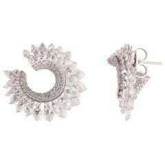 Studio Rêves Rose Cut Diamond Twisted Stud Earrings in 18 Karat Gold
