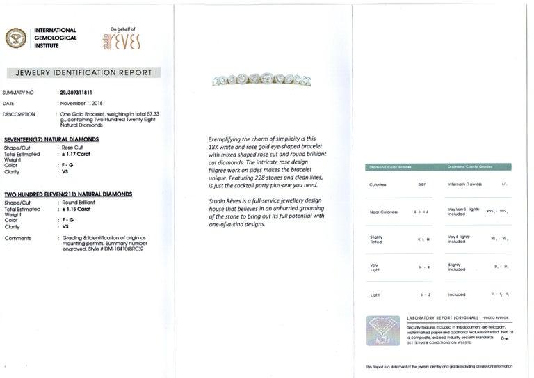 Studio Rêves Rose Cut Diamonds and Filigree Bracelet in 18 Karat Gold For Sale 5