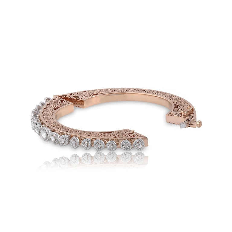 Studio Rêves Rose Cut Diamonds and Filigree Bracelet in 18 Karat Gold In New Condition For Sale In Mumbai, Maharashtra