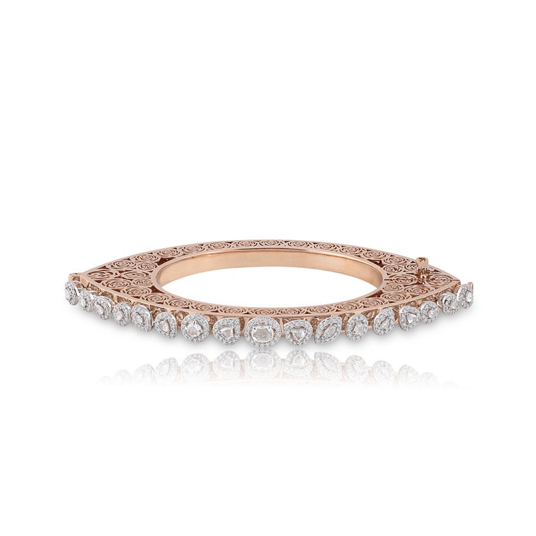 Women's Studio Rêves Rose Cut Diamonds and Filigree Bracelet in 18 Karat Gold For Sale