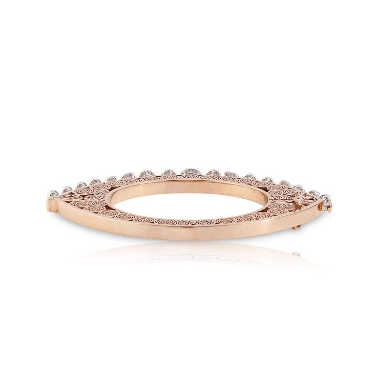 Studio Rêves Rose Cut Diamonds and Filigree Bracelet in 18 Karat Gold For Sale 1