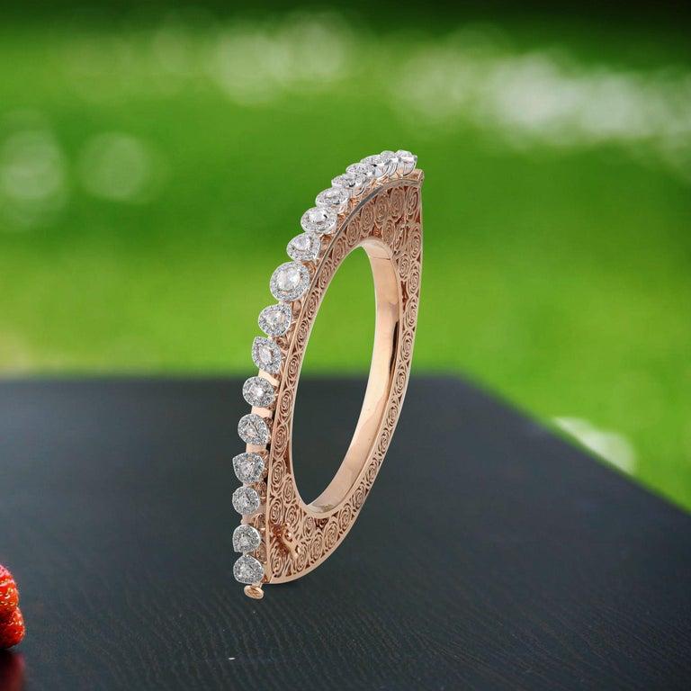 Studio Rêves Rose Cut Diamonds and Filigree Bracelet in 18 Karat Gold For Sale 3