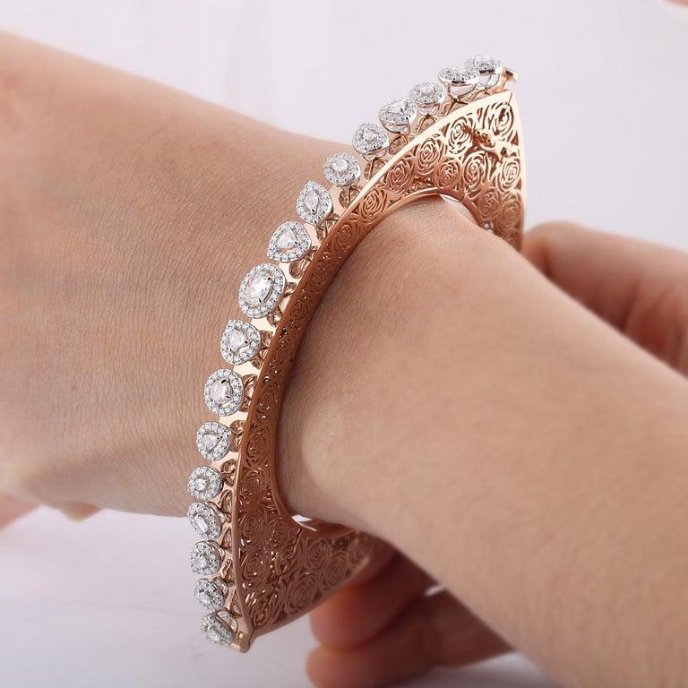 Studio Rêves Rose Cut Diamonds and Filigree Bracelet in 18 Karat Gold For Sale 4