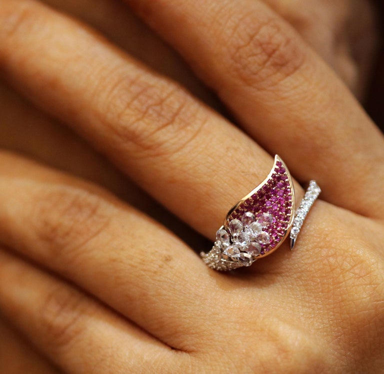 Studio Rêves Rose Cut Diamonds and Pink Sapphire Ring in 18 Karat Gold For Sale 4