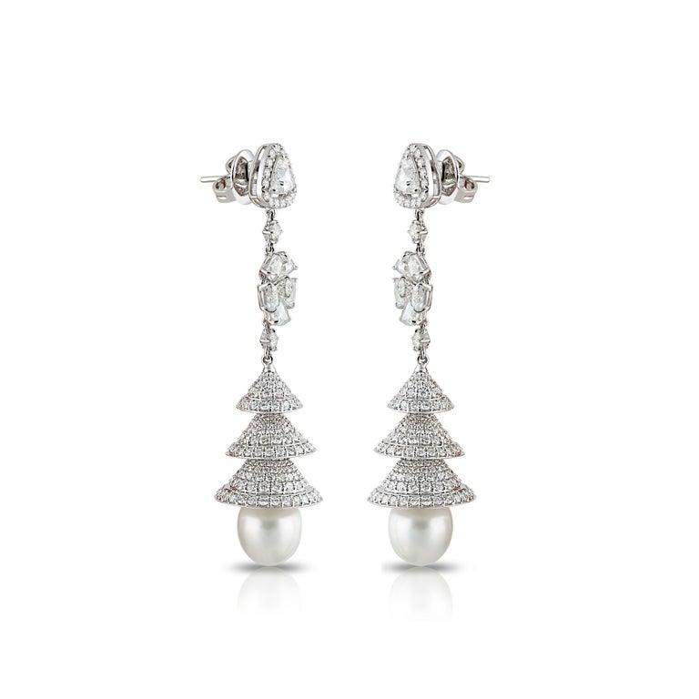 Contemporary Studio Rêves Rose Cut Diamonds Chandelier Earrings in 18 Karat White Gold