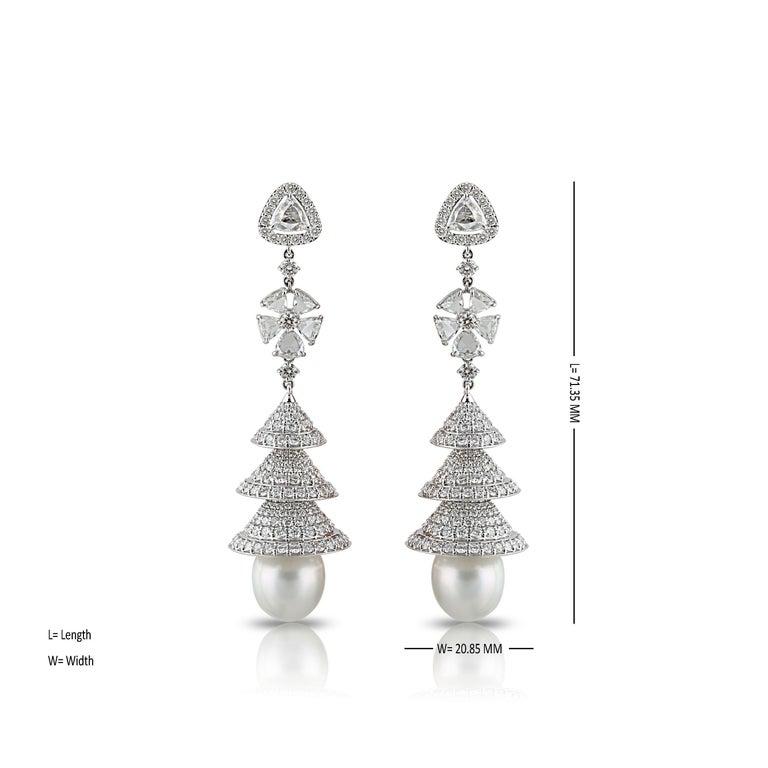 Women's Studio Rêves Rose Cut Diamonds Chandelier Earrings in 18 Karat White Gold