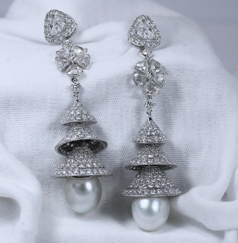 Studio Rêves Rose Cut Diamonds Chandelier Earrings in 18 Karat White Gold 1