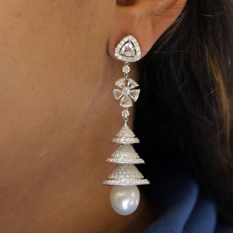Studio Rêves Rose Cut Diamonds Chandelier Earrings in 18 Karat White Gold 2