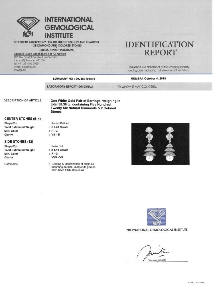 Studio Rêves Rose Cut Diamonds Chandelier Earrings in 18 Karat White Gold 3