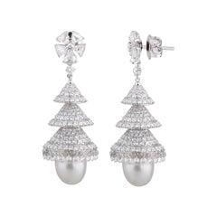 Studio Rêves Rose Cut Diamonds Chandelier Earrings in 18 Karat White Gold
