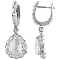 Studio Rêves Rose cut Diamonds Drop Earrings in 18 Karat Gold