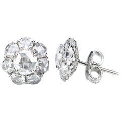 Studio Rêves Rose Cut Diamonds Stud Earrings in 18 Karat White Gold