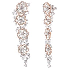 Studio Rêves Rose Cut Floral Dangling Earrings in 18 Karat Rose and White Gold