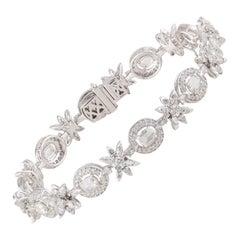 Studio Rêves Rose Cut Oval Diamond Tennis Bracelet in 18 Karat Gold