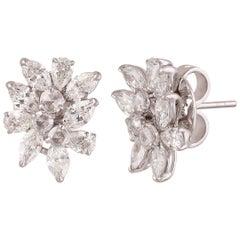 Studio Rêves Rose Cut Round Diamond Cluster Stud Earrings in 18 Karat Gold
