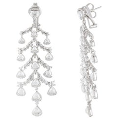 Studio Rêves Rose Cut Trillion Diamond Chandelier Earrings in 18K White Gold