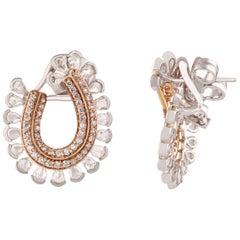 Studio Rêves Rosecut and Brilliant Cut Diamond Hoop Earrings in 18 Karat Gold