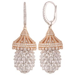 Studio Rêves Rosecut and Brilliant Cut Diamond Pineapple Earrings in 18K Gold