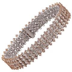 Studio Rêves Rose Cut and Pink Diamond Studded 18 Karat Gold Tennis Bracelet