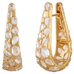 Studio Rêves Rosecut Diamond Hoop Earrings in 18 Karat Yellow Gold