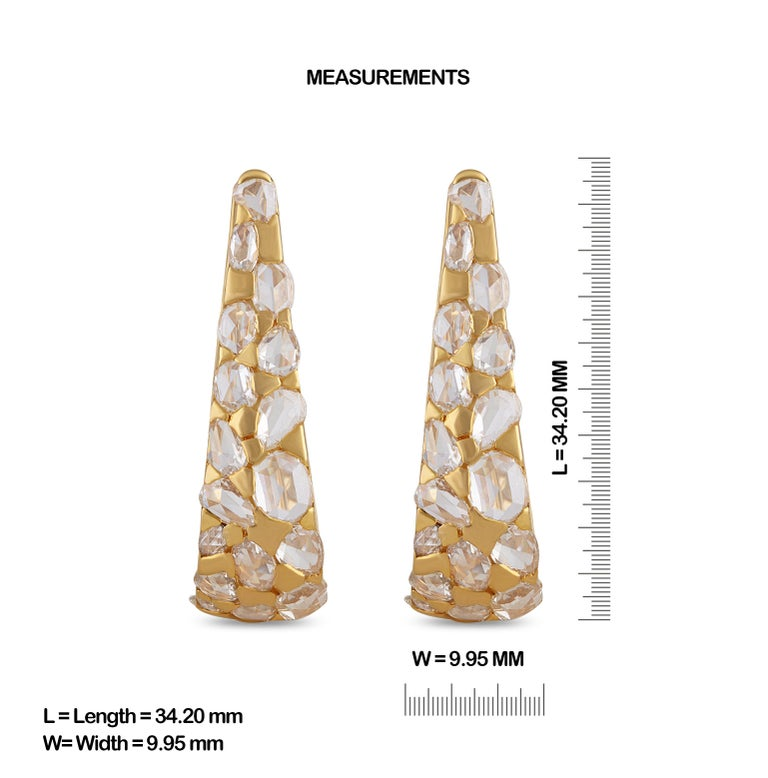 Gross Weight: 17.19 Grams Diamond Weight: 11.03 cts IGI Certification can be done on request.  Video of the product can be shared on request.  Big size hoops, intensified with uneven shapes of 11.03 cts rose cut pear and oval, with diamonds in this