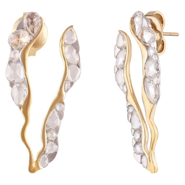Studio Rêves Rosecut Diamond Stud Earrings in 18 Karat Gold