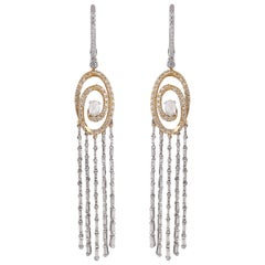 Studio Rêves Rosecut Diamond Waterfall Dangling Earrings in 18 Karat Gold
