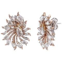Studio Rêves Rosecut Floret Stud Earrings in 18 Karat Gold