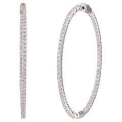 Studio Rêves Round Diamonds Hoop Earrings in 18 Karat White Gold