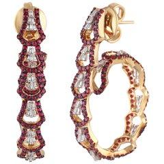 Studio Rêves Rubies with Tapered Baguette Diamond Hoop Earrings in 18 Karat Gold