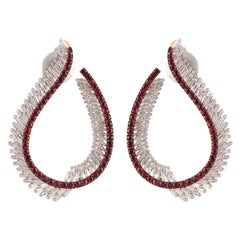 Studio Rêves Rubies with Tapered Diamond Earrings in 18 Karat Gold